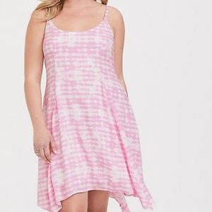 PINK TIE-DYE CHALLIS HANDKERCHIEF DRESS Size 1